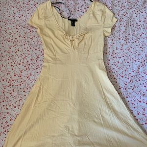 yellow front tie babydoll dress
